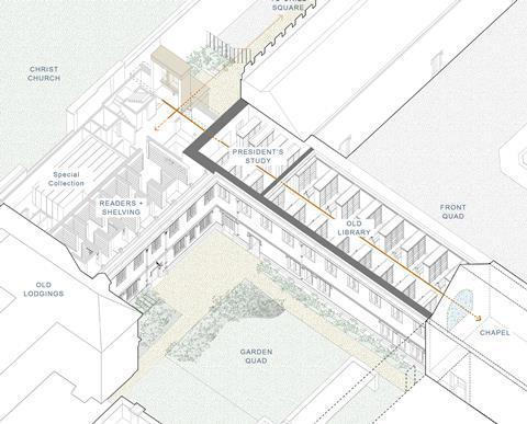 Corpus Christi College Oxford_First Floor Axo - Wright and Wright Architects - with labels