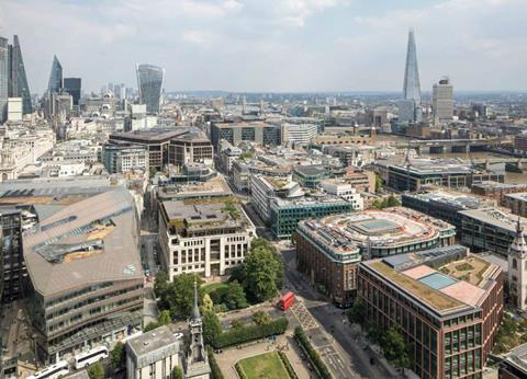 Aerial view of 25 Cannon Street as it would appear after Buckley Gray Yeoman's rework