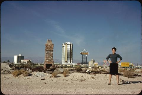 Denise Scott Brown in front of The Strip, Las Vegas, NV, US, 1966