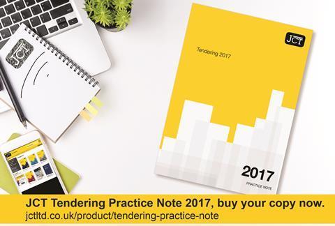 JCT Tendering Practice Note 2017
