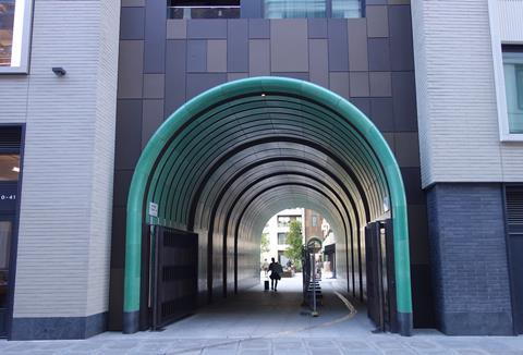 The entrance to Make's Rathbone Square in Fitzrovia (home to Facebook)