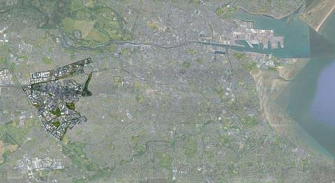 The greater Dublin area, with the City Edge Project footprint highlighted at the left