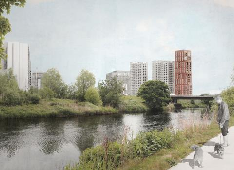 The concept design for East Bank's 600 homes, seen from the north-east