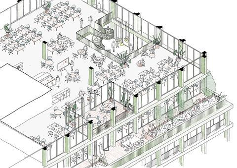 Morris and Co_HUF4_MoCo_Isometric Sketch_Office loggia