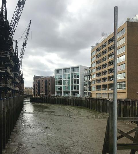 22 Shad Thames by Hopkins existing view from St Saviours Dock footbridge