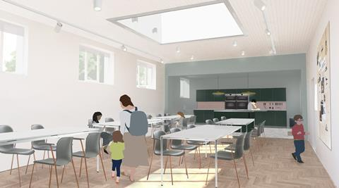 The new learning studio and kitchen at Citizens Design Bureau's extension to Manchester Jewish Museum