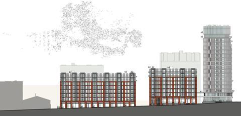 Elevation of Falconer Chester Hall's 505-home Baltic Triangle proposals, seen from Parliament Street