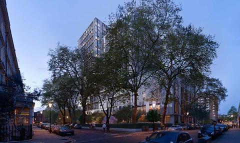 SimpsonHaugh's Kensington Forum proposals, seen from across the scheme's garden square