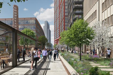 A view of the high line facing Principal Place