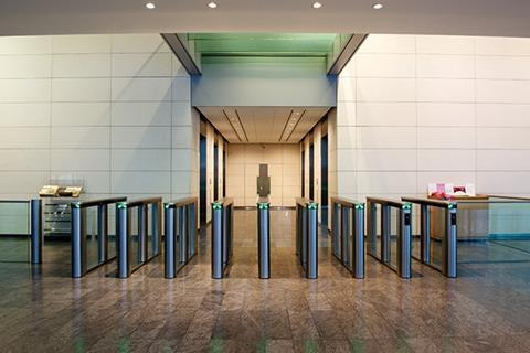Swinglane 900 security turnstiles at One Bishops Square in London