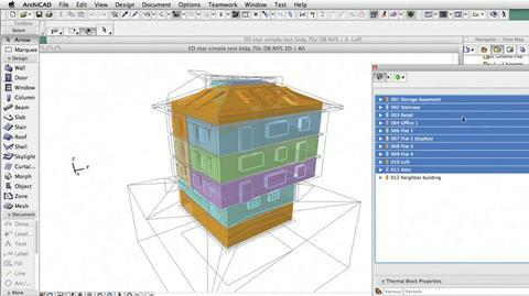 Multiple thermal block building energy model shown in 3D in ArchiCAD.