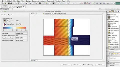 Thermal bridge simulation in Graphisoft's EcoDesigner Star.